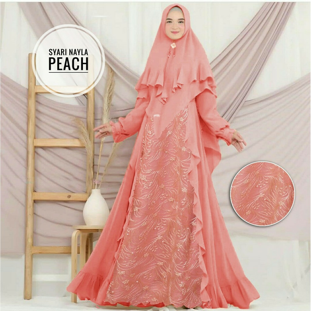 Model gamis tile kombinasi nayla peach