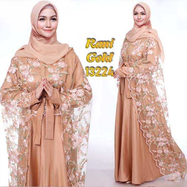 Gamis pesta jumbo rani cape gold
