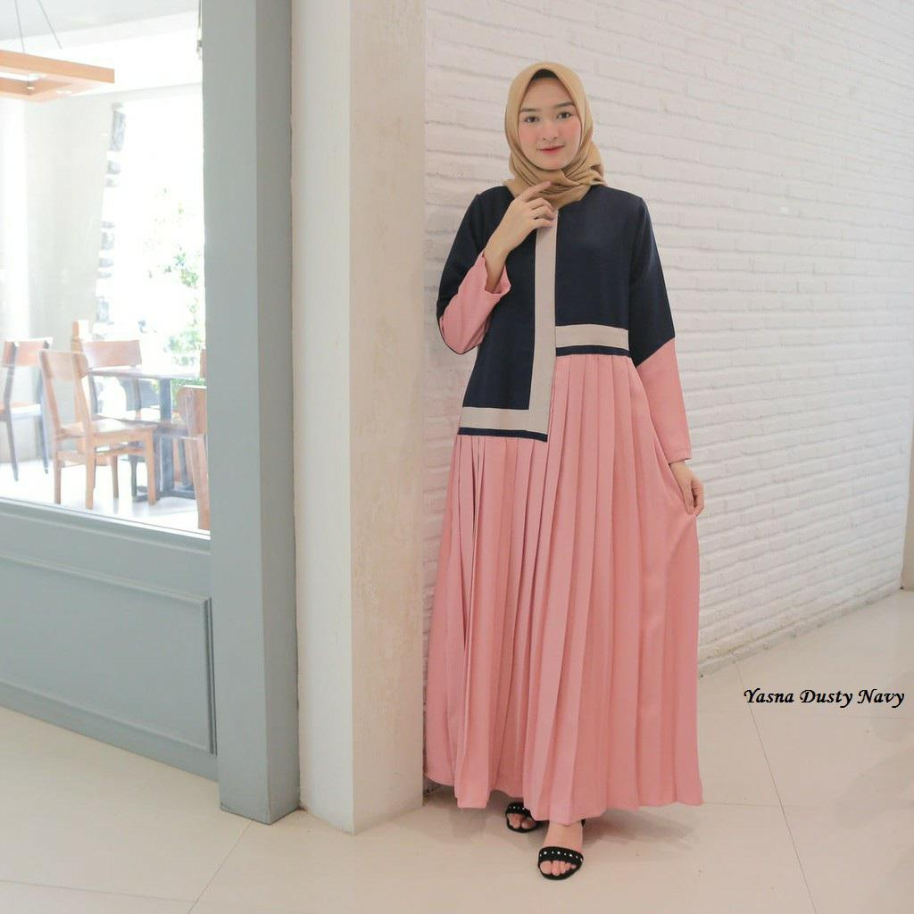 Gamis simple elegan yasna dusty navy