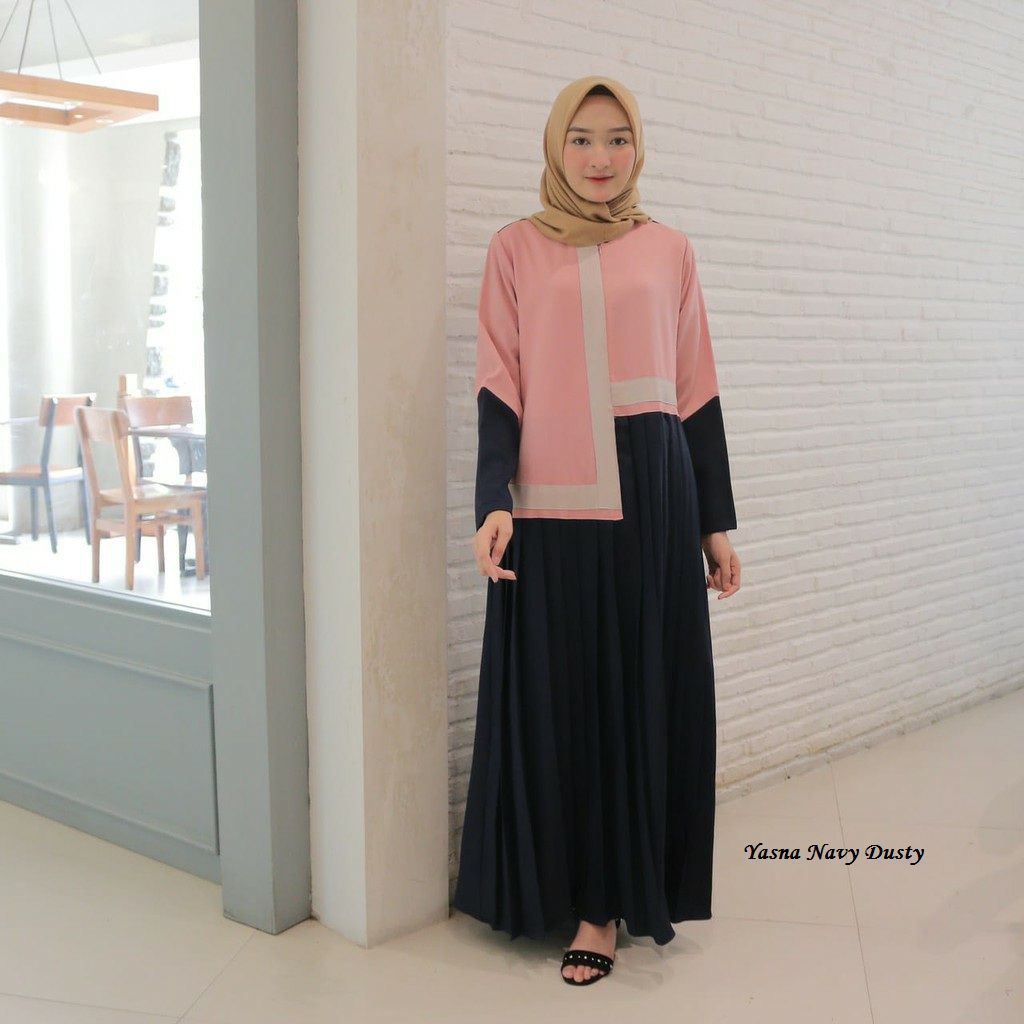 Gamis simple elegan yasna navy dusty