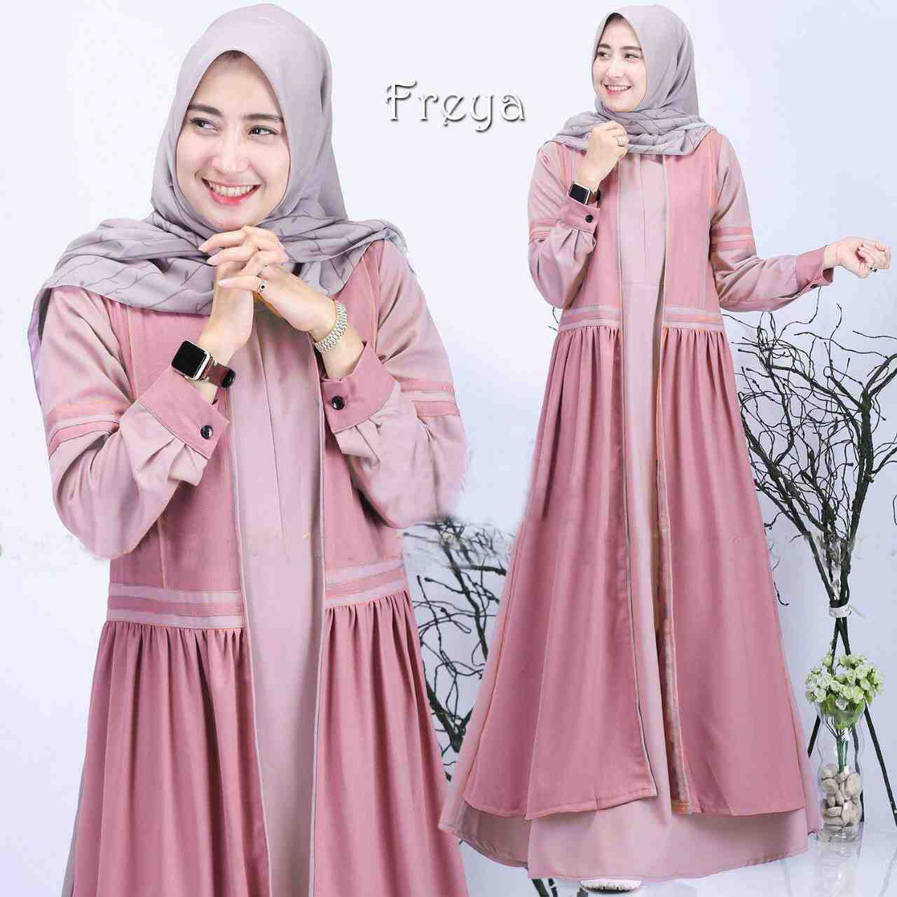 Gamis wollycrepe casual freya pink dustypeach