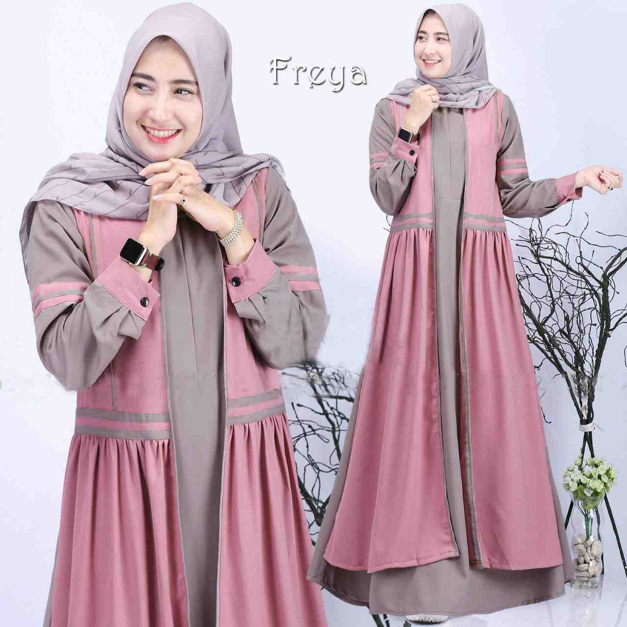 Gamis wollycrepe casual freya pink sand