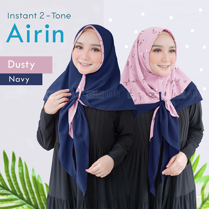 Jilbab instant two tone airin dusty navy