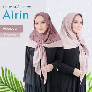 Jilbab Instant Two Tone Airin Mocca cream