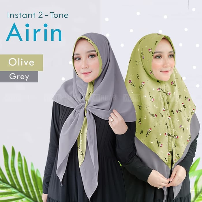 Jilbab instant two tone airin olive grey