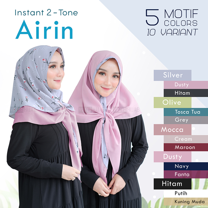 Jilbab instant two tone airin silver dusty