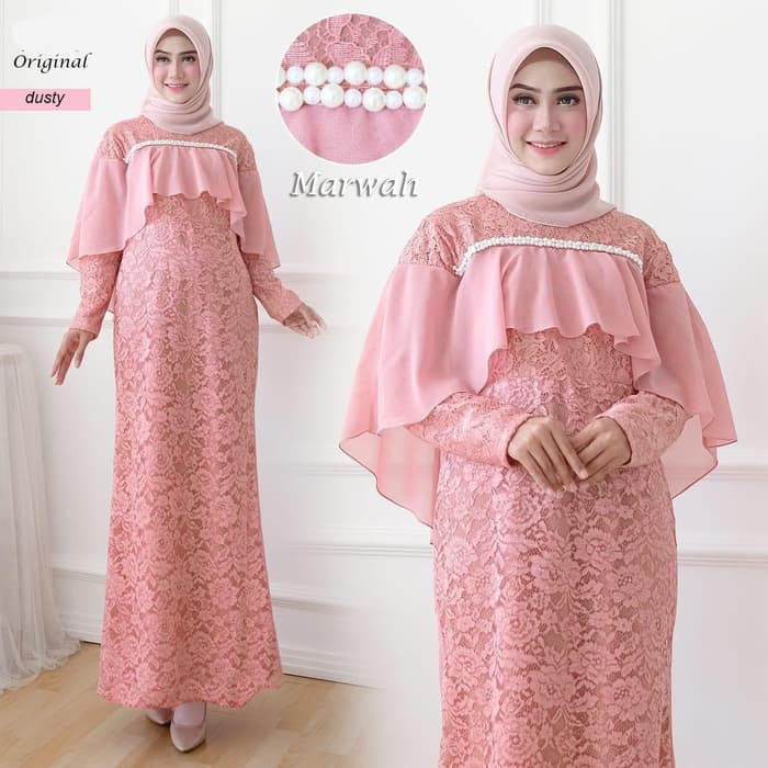 Model gamis pesta elegan marwah dusty