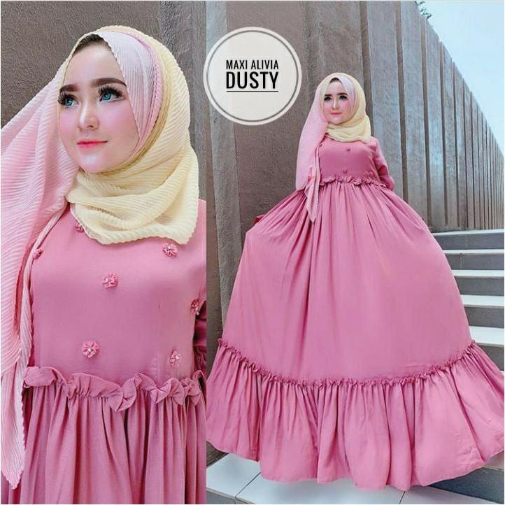 Model gamis polos casual alivia dusty