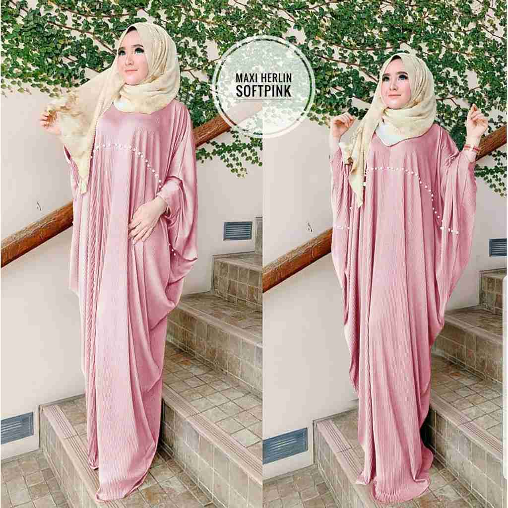 Model kaftan modern 2019 herlin soft pink