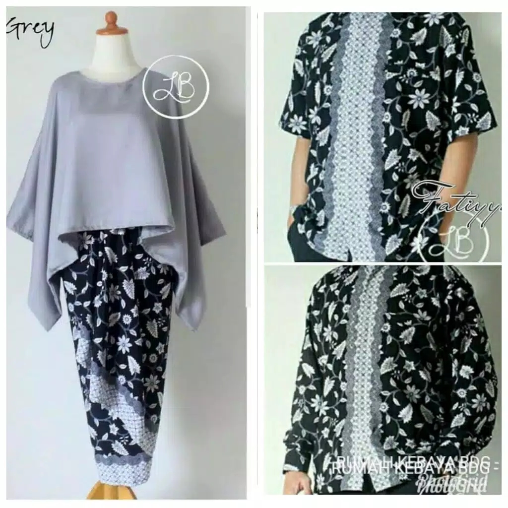 Batik couple batwing set abu