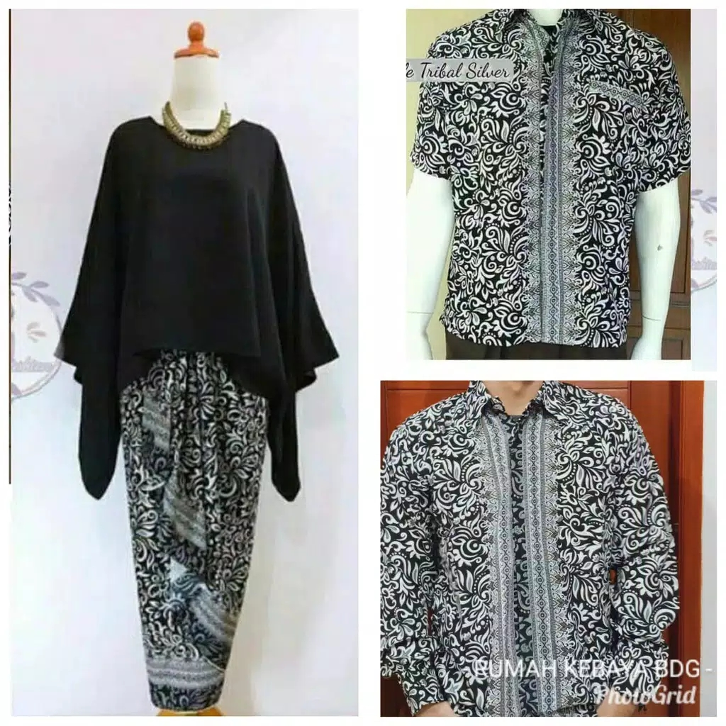 Batik couple batwing set hitam