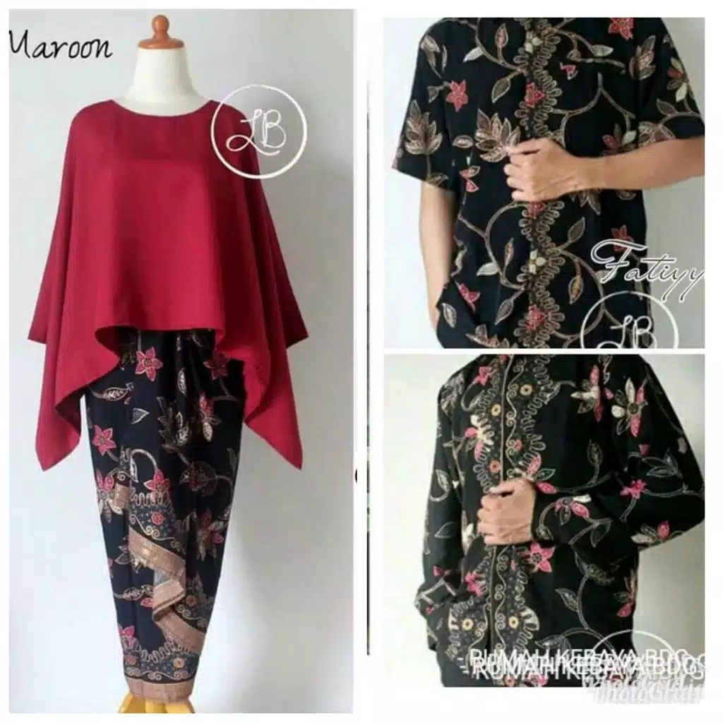 Batik couple batwing set marun
