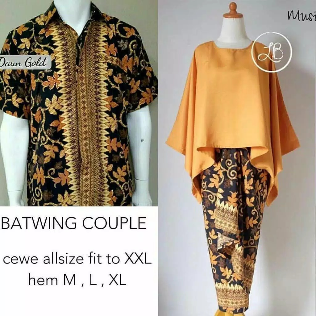 Batik couple batwing set mustard