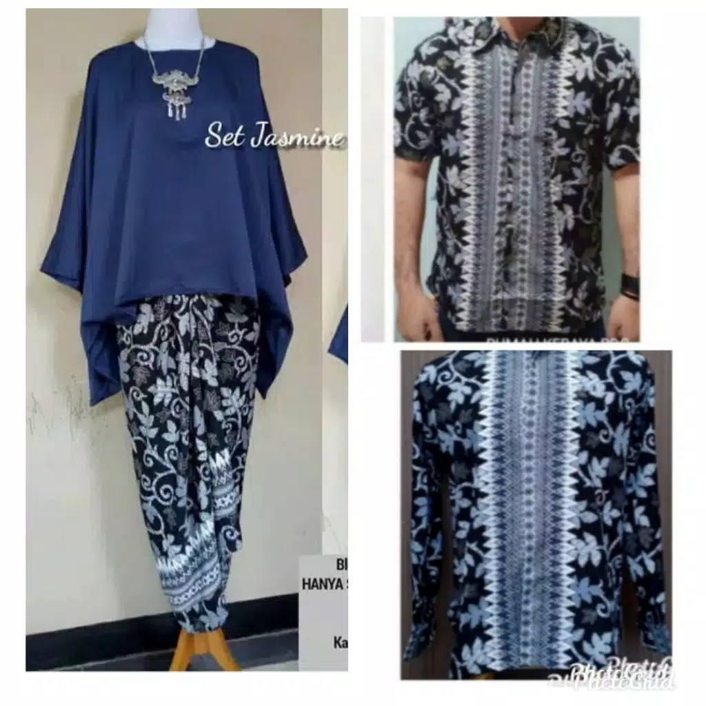 Batik couple batwing set navy realpict