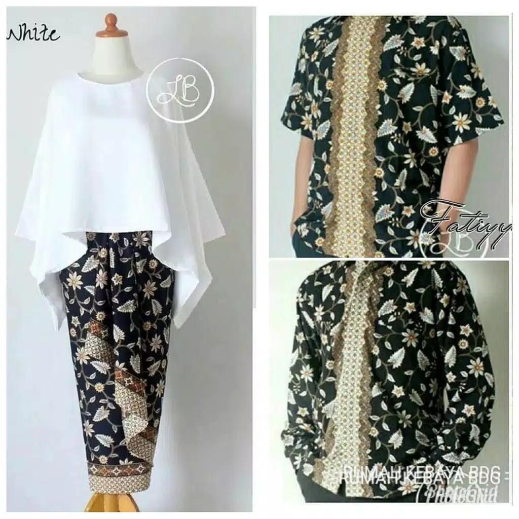 Batik couple batwing set putih