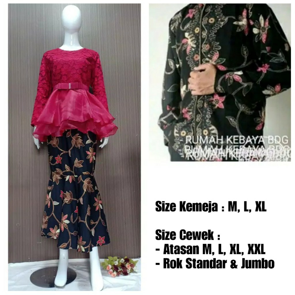 Baju couple batik brokat organza marun