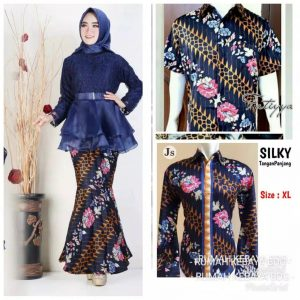 Baju couple batik brokat organza navi