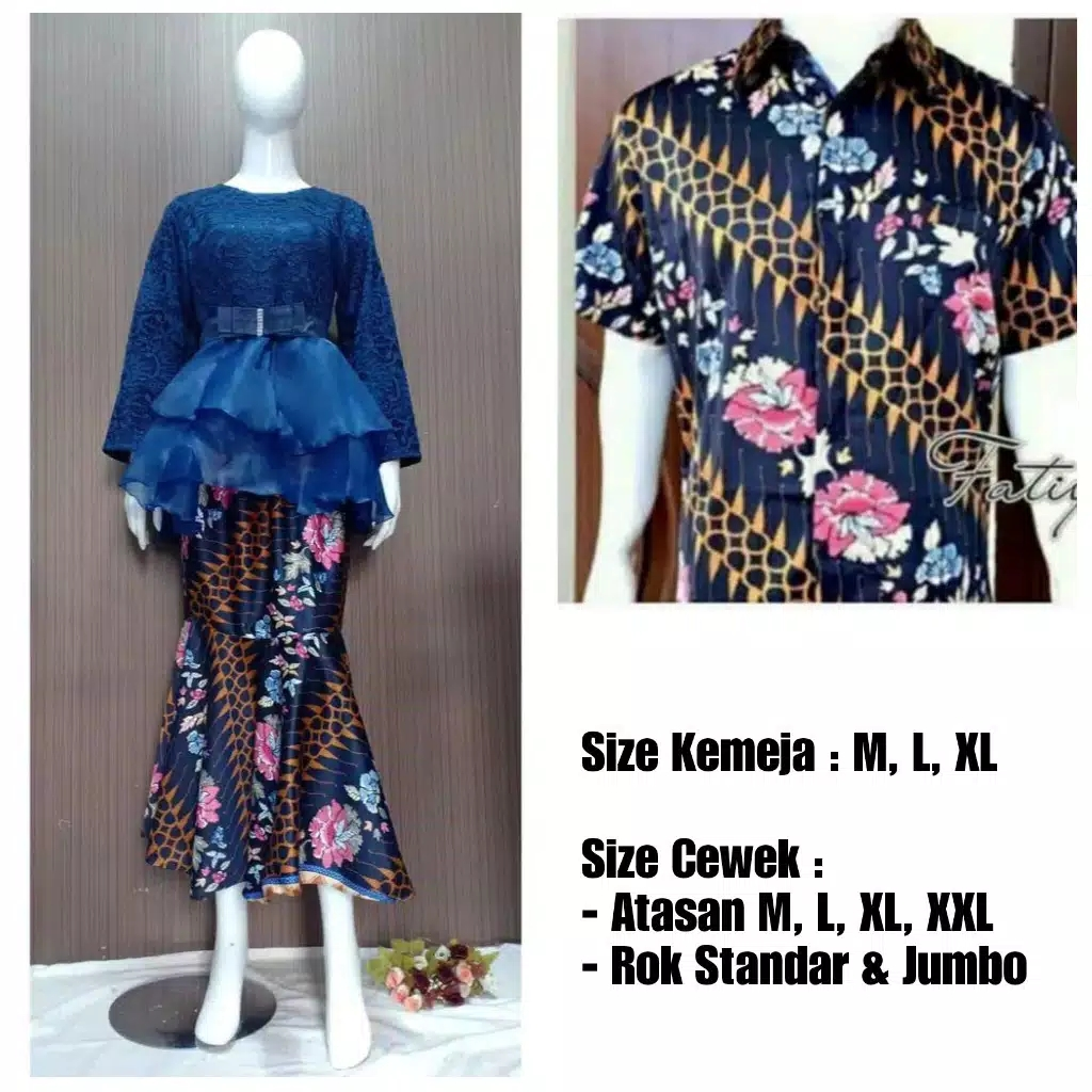 Baju couple batik brokat organza navy