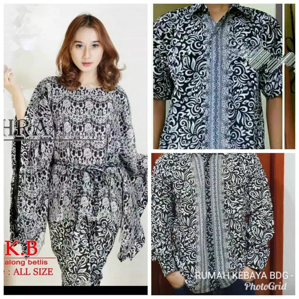 Baju couple batwing brokat abu