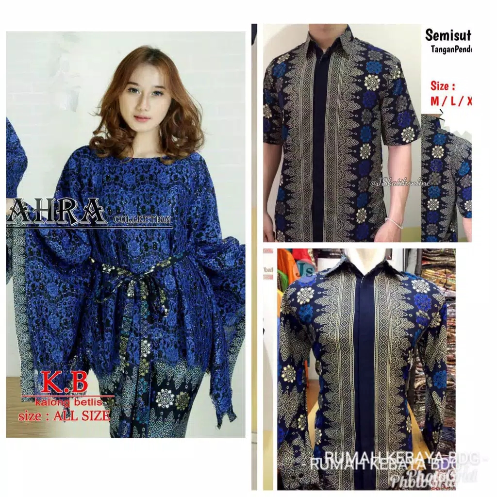 Baju couple batwing brokat navy