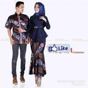 Batik couple sarimbit rumbai navy