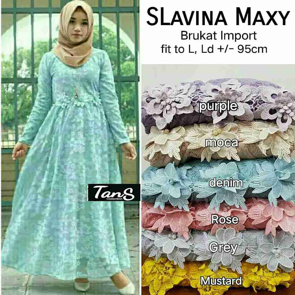 Dress pesta brokat slavina denim