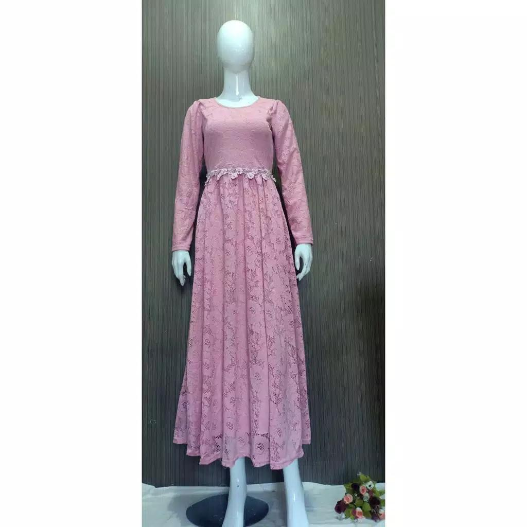 Dress pesta brokat slavina dusty