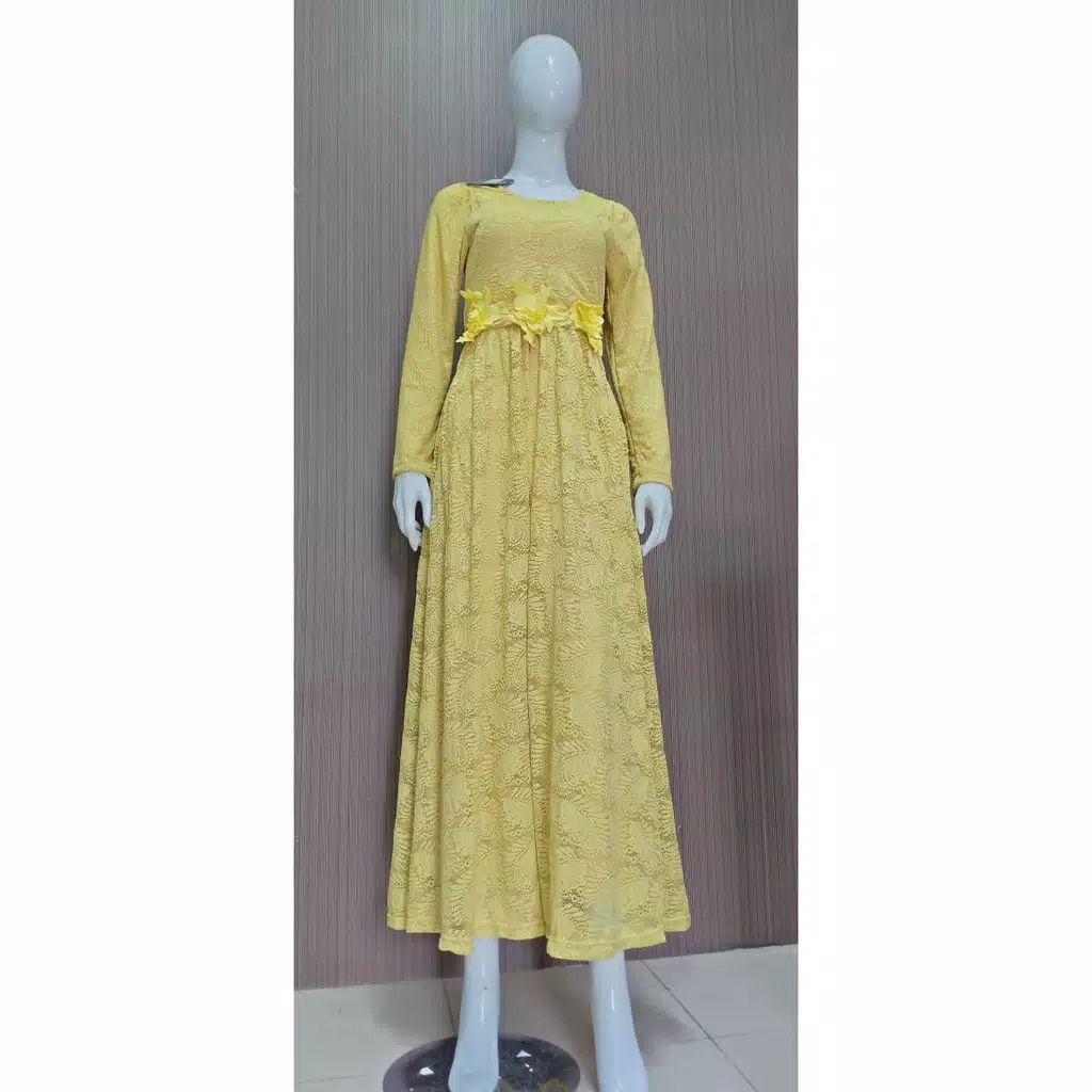 Dress pesta brokat slavina lemon