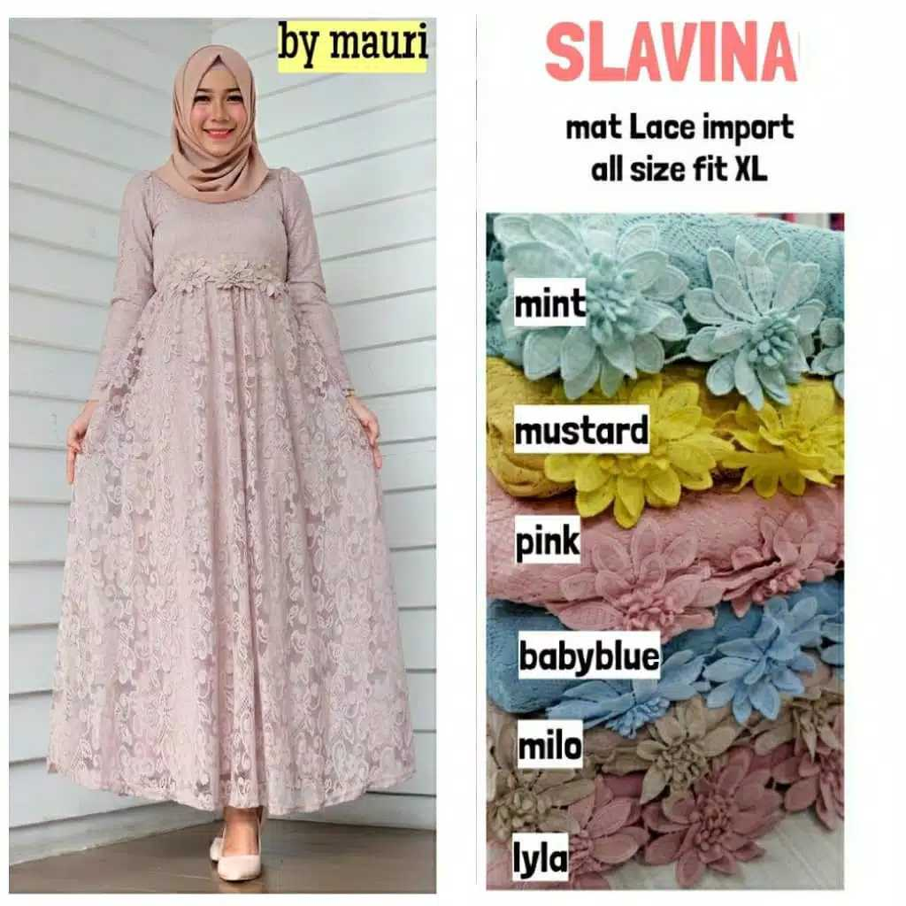 Dress pesta brokat slavina milo
