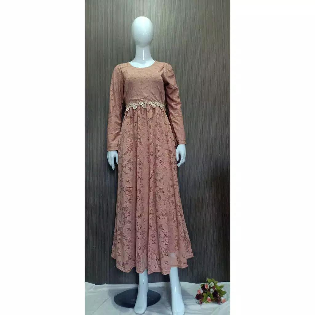 Dress pesta brokat slavina moka