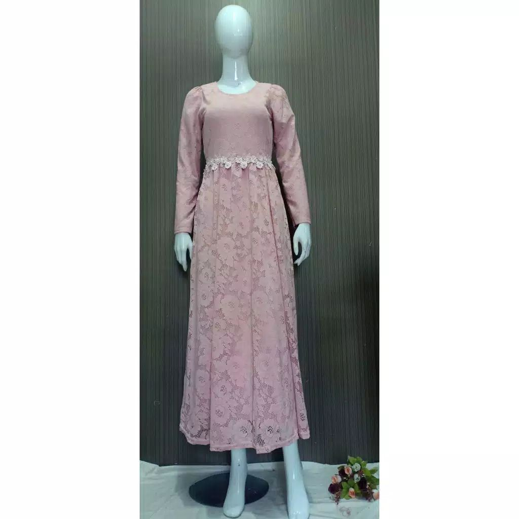 Dress pesta brokat slavina peach