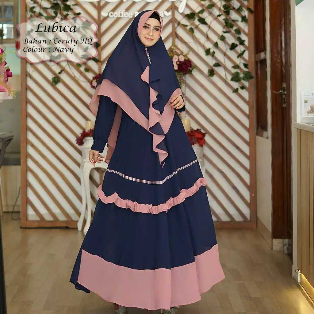 Gamis ceruty babydoll lubica navy