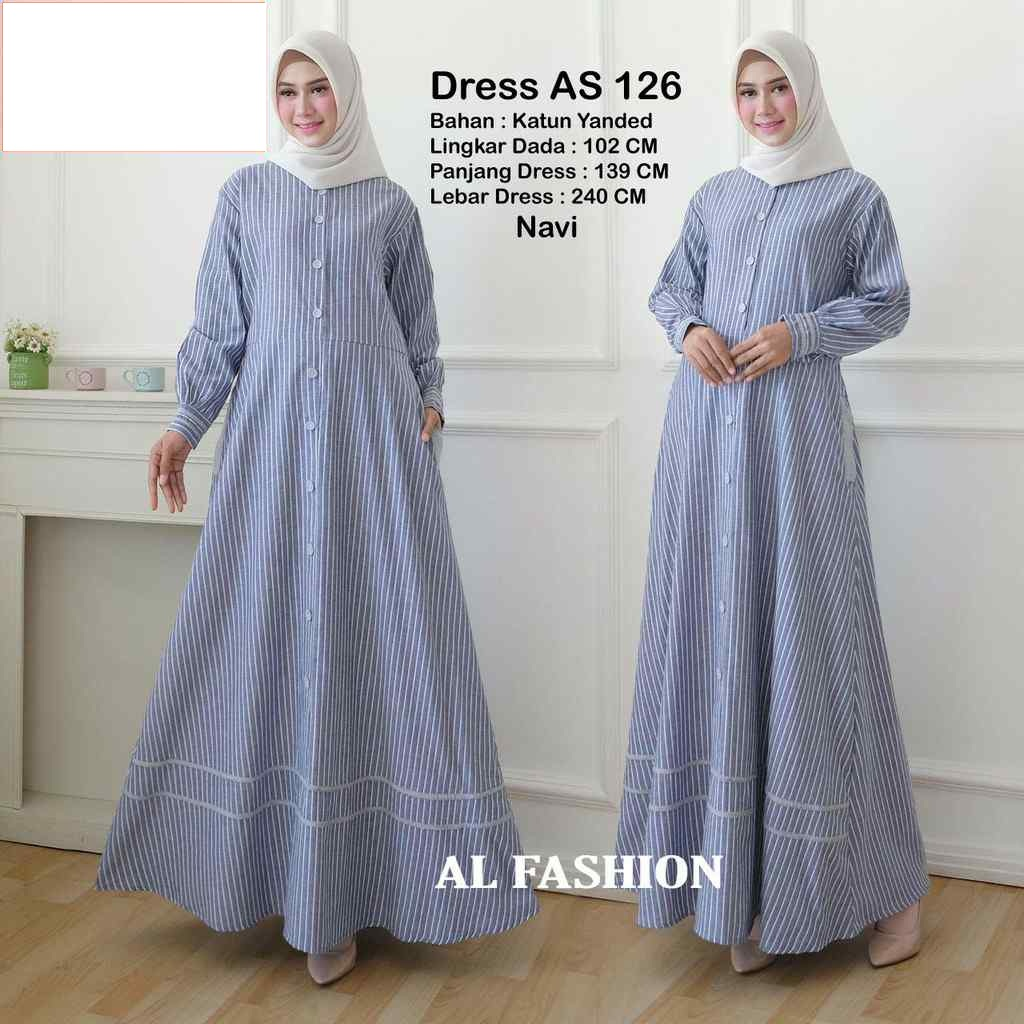 Gamis katun yanded salur as 126 navy