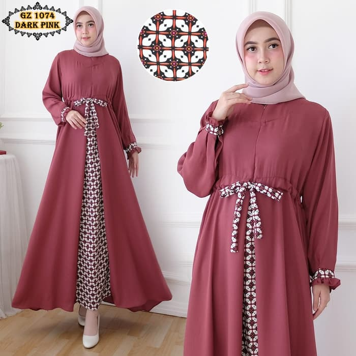 Model gamis batik gz1074 dark pink