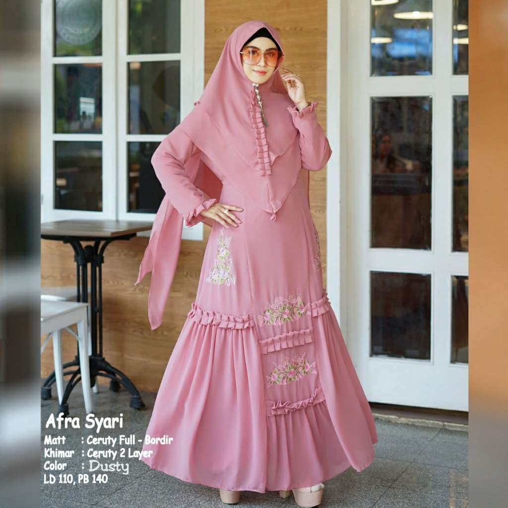 Model gamis syari bordir afra dusty