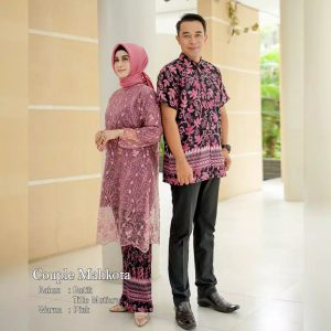 Couple batik brokat mahkota pink