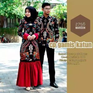 Couple batik rufle maura sania marun
