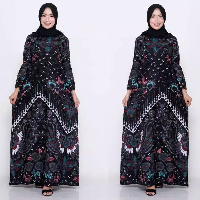 Couple gamis batik hitam dress