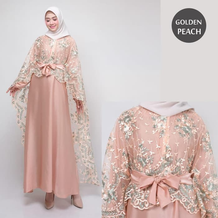 Dress pesta terbaru rania new golden peach
