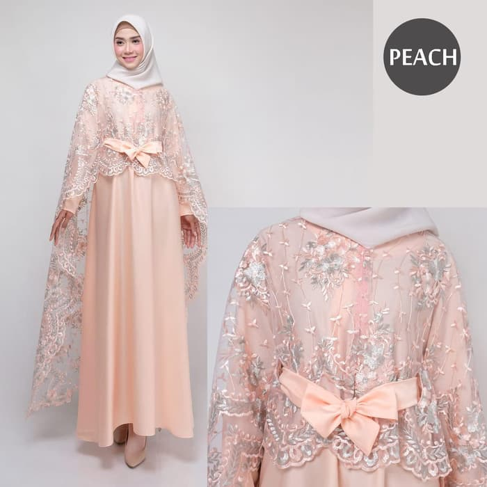Dress pesta terbaru rania new peach