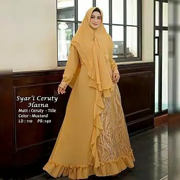 Gamis ceruty tile hasna mustard