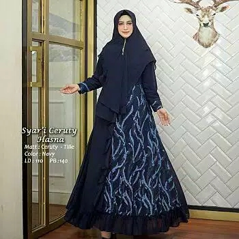 Gamis ceruty tile hasna navy