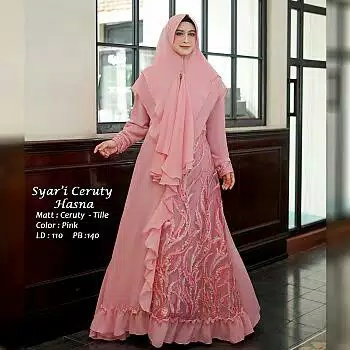 Gamis ceruty tile hasna pink