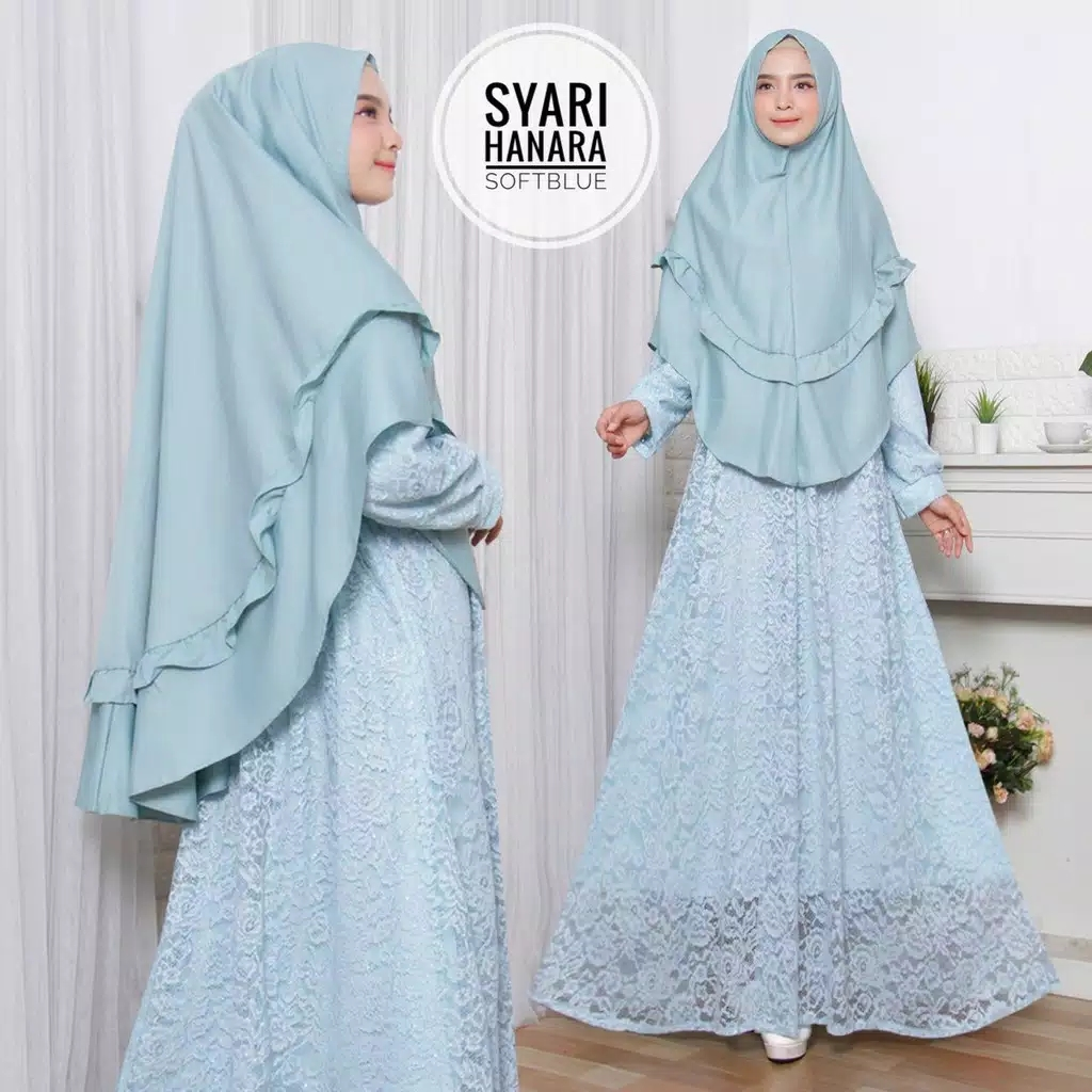 Gamis full brokat hanara soft blue