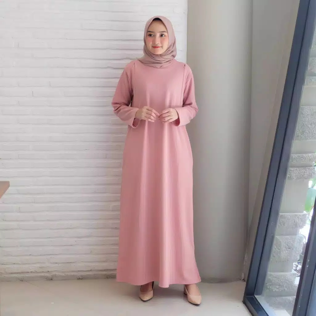Gamis polos simpel gisel dusty