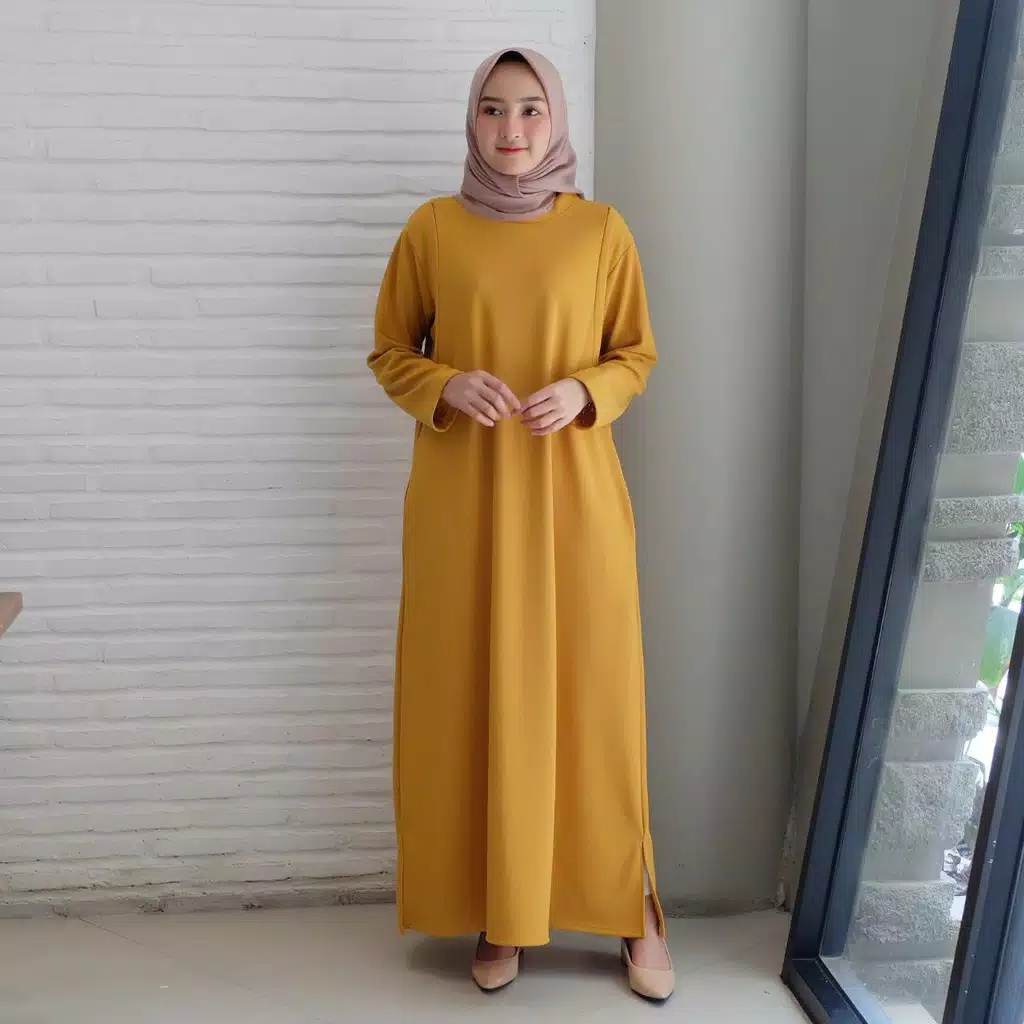 Gamis polos simpel gisel mustard