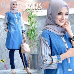 Tunik denim raras biru