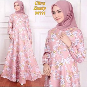 Gamis katun murah citra dusty