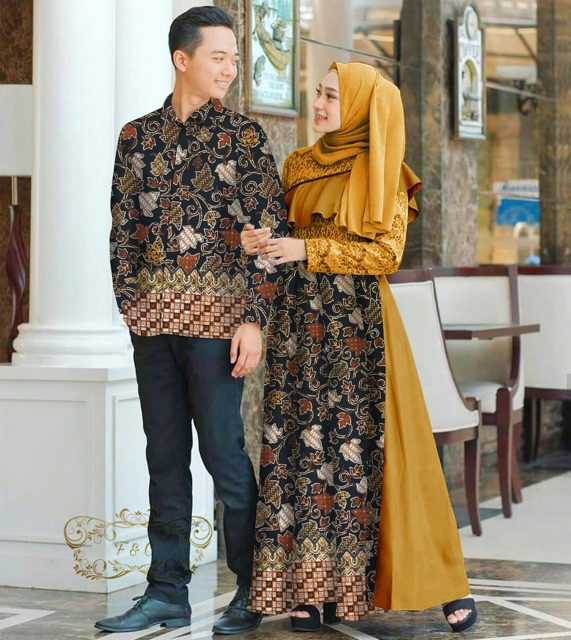 Couple batik alazka mustard