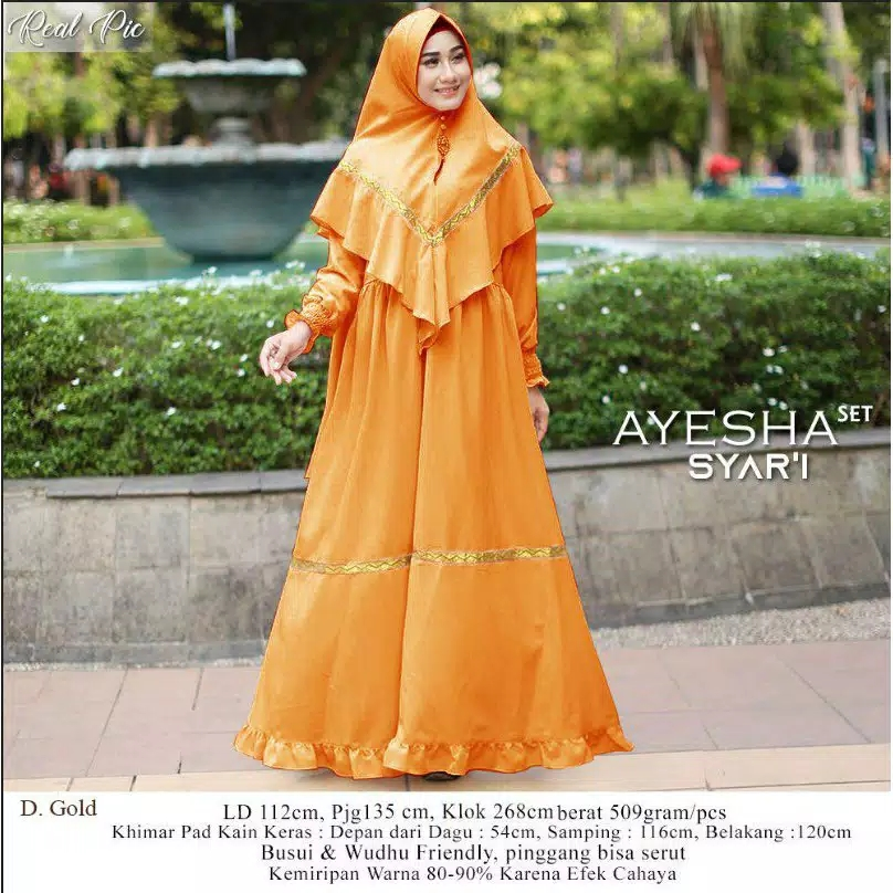 Gamis ceruty polos trendy ayesha gold